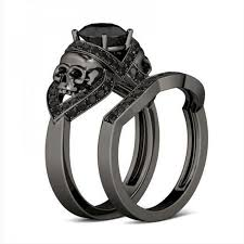black engagement rings images Black skull engagement ring set the copper rivet jpg