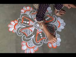 indian traditional rangoli designs with 9x5 dots alpana with