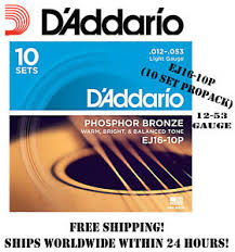 d addario ej16 phosphor bronze light acoustic guitar strings d addario ej16 phosphor bronze light acoustic guitar strings 10 pack
