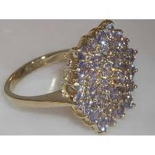 large ladies rings images 9ct gold ladies large tanzanite cluster ring gemstone rings gold jpg