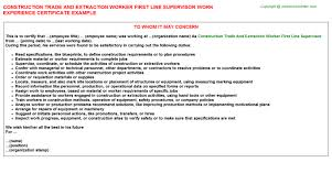 construction trade and extraction worker first line supervisor