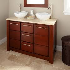 rectangle brown stained mahogany wood vanity for bathroom with 9