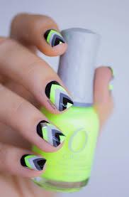 deco ongle en gel noir et blanc idée nail art été u2013couleurs pastel motifs géométriques tribaux