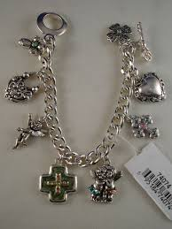 bracelet charms cross images Christian faith inspired green cross charm bracelet silver chain jpg