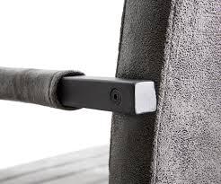 Esszimmerstuhl Federkern Freischwinger Earnest Grau Vintage Gestell Metall Schwarz Möbel