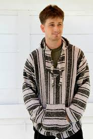 baja sweater mens mens black and white poncho sweater hoodie pullover mens