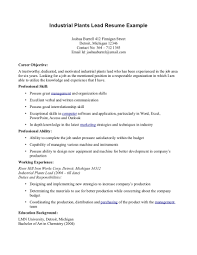 industrial plants lead resume 3 example cover letter seeking