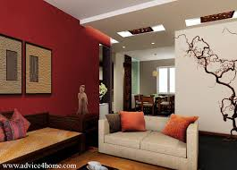 White False Pop Ceiling And Red Wall Design In Living Room For - Wall design for living room