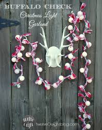 Red And White Christmas Lights by Red White Buffalo Check Christmas Light Garland Twelveoeight