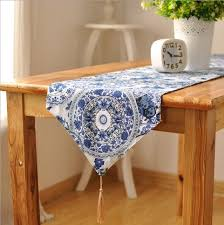 blue and white table runner classical printed blue and white porcelain endless cotton and linen