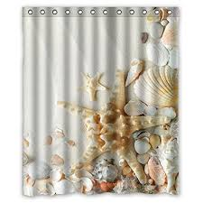 Seashell Fabric Shower Curtain Decorations For Home Seashells And Starfish 160x180cm