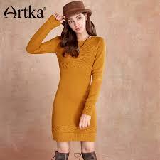 yellow sweater dress artka wool sweater dress sleeve pullover s dress