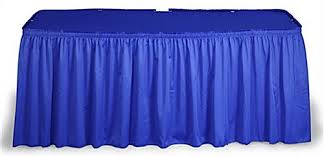 8 ft table skirt this blue table skirt for trade shows makes tables stand out many