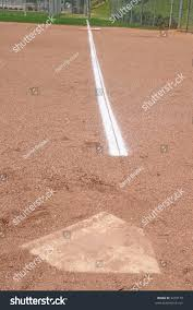 Home Plate Baseball Chalk Baseline Home Plate First Base Stock Photo 3279179