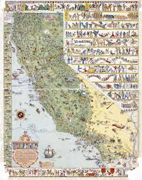 California State Map by Large Detailed Old Tourist Illustrated Map Of California State