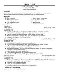 Production Operator Resume Sample Warehouse Forklift Operator Resume Sample Resume Pinterest