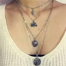multi pendant necklace images 1pc 3 layers new fashion vintage elephant moon flowers pendant jpg