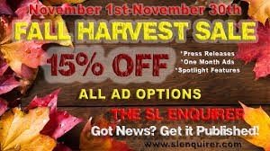 fall harvest sale get 15 all sle ad options from november 1st