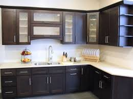 modren kitchen cabinets with glass doors on top modern e for