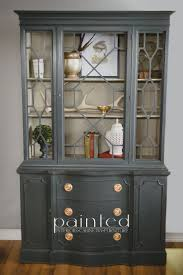 china cabinet painted with annie sloan chalk paint in graphite and