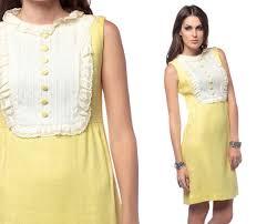 mod mini dress 60s dolly ruffle lace bib 1960s pale yellow
