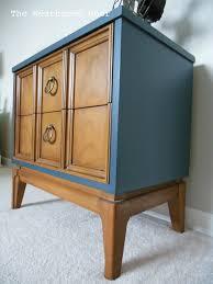 walnut navy mid century nightstand the weathered door