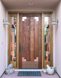 rustic fir doors with copper corners and stained glass wgh