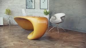 Futuristic Office Desk Furniture Light Yellow Futuristic Office Desk With Modern Silver