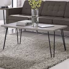 modern classic vintage style coffee table with wood top and metal