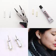flat back earrings diy pearl bar earrings