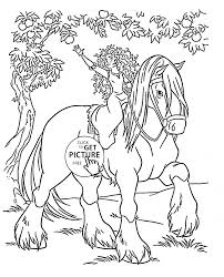 disney princess merida rides a horse coloring page for kids