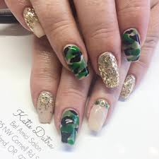 quick look coffin shaped gel nails with camo nail art design