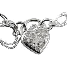 silver heart pendant bracelet images Sterling silver charm bracelet with ornate padlock 7 5 inches jpg