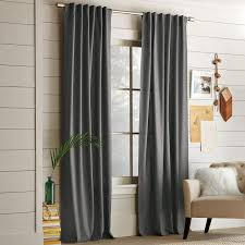 Steel Grey Curtains Cotton Canvas Pole Pocket Curtain Steel West Elm