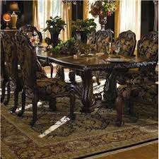 michael amini oppulente 5 piece glass top round dining table set