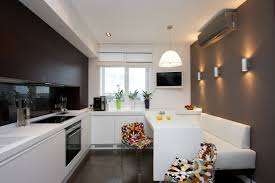 Kitchen Cabinet Chic Build Banquette Two Tone Kitchen Cupboards Interior Curving Dark Brown And Brown