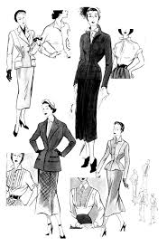 croquis mode 1949 fashion clothing and jewelry coloring pages