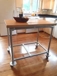 butcher block kitchen island table movable island table pipe butcher block rolling kitchen island
