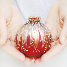 Decorative Christmas Ornaments by Christmas Ornament Glass Ball Red Christmas By Silverowlstudio
