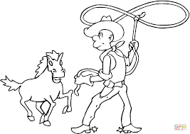 cowboy catching the horse with lasso coloring page free