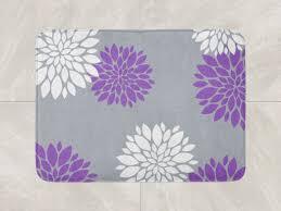 Floral Bathroom Rugs Floral Bath Mat Purple Grey Bathroom Decor Foam Bath Rug