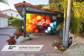 outdoor projector screen on a steps with pictures images with