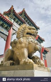 foo lion statue foo dog prosperity lion statue at chinatown gate in