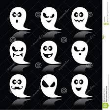halloween cartoon background halloween ghost icons set on black background stock illustration