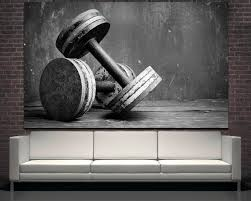 large black and white dumbbells photography wall print art