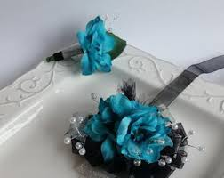 Teal Corsage Wrist Corsage Turquoise Blue Wrist Corsage And Matching