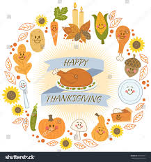 happy thanksgiving in espanol happy thanksgiving banner cute food characters stock vector