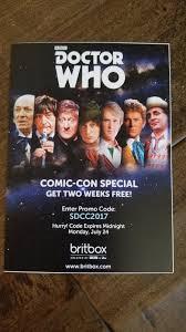brit box 2017 sdcc comic con exclusive swag bbc doctor who britbox promo