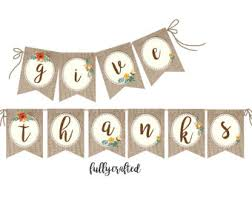 thanksgiving burlap banner rustic banner etsy
