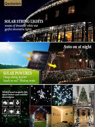 Solar Led Patio Lights by Qedertek Solar Christmas String Lights 72ft 200 Led Outdoor Fairy